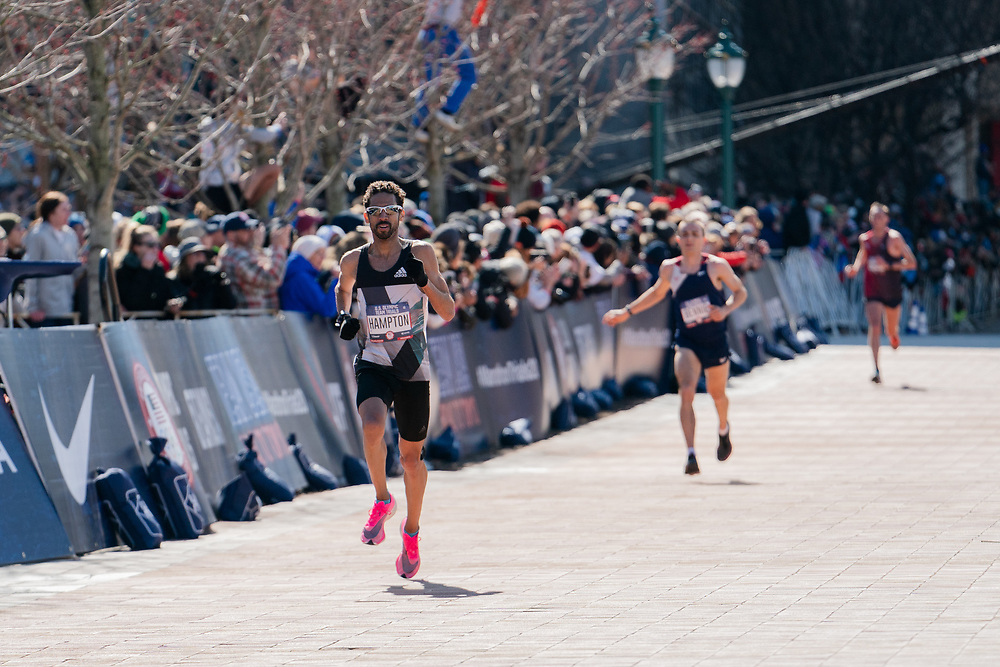 Jonas Hampton finishes eighth during the 2020 U.S. Olympic marathon trials in Atlanta on Saturday, Feb. 20, 2020. Photo by Kevin D. Liles for The New York Times