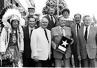 1986 Iron Eyes Cody, Pat Buttrum, Johnny Grant, Gene Autry, Doyle O'Dell and Bill Welsh at Smiley Burnette's posthumous Walk of Fame ceremony