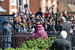 © Licensed to London News Pictures. 20/04/2016. HRH QUEEN ELIZABETH II (front in pink) departs after officially open the new bandstand at Alexandra Gardens in Windosr on the eve of her 90th birthday. Photo credit: Hannah McKay/LNP