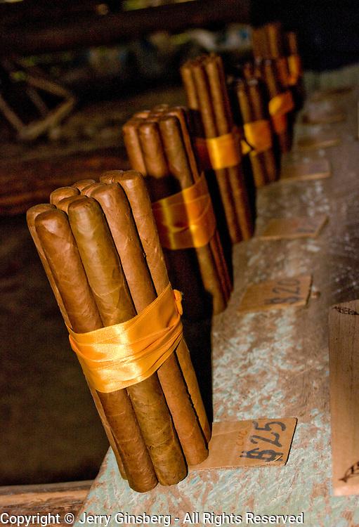 Cuban ciagrs for private sale  on tobacco farm in Pinar del Rio, Vinales, Vinales Valley, Valle de Vinales, Cuba.