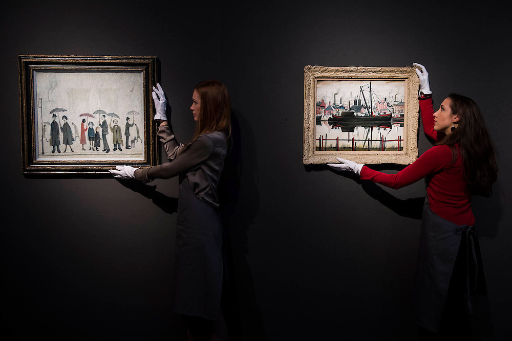 L.S. Lowry, led by Coal Barge (R) and others - Christie's Modern British and Irish Art Sale which will take place on 19 November 2014. Featuring 35 lots, the auction includes  examples of 20th century British sculpture and painting, such as: John Duncan Fergusson's Poise (estimate: £80,000-120,000); six paintings by L.S. Lowry, led by Coal Barge (estimate: £700,000-1,000,000);  Euan Uglow's masterpiece entitled Three In One (estimate: £500,000-800,000; Figure (Sunion) by Dame Barbara Hepworth (estimate: £600,000-800,000); and sculpture by leading artists of the genre including Henry Moore, Lynn Chadwick, Dame Elisabeth Frink, and Naum Gabo.