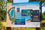 Lake Tahoe welcome sign, Tahoe City, California USA