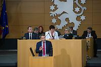 DEU, Deutschland, Germany, Erfurt, 05.12.2014:<br /> Der Fraktionsvorsitzende der Partei Alternative für Deutschland (AfD) in Thueringen, Björn Hocke, bei einer Rede nach der Wahl des Thueringer Ministerpräsidenten im Plenum des Landtags.
