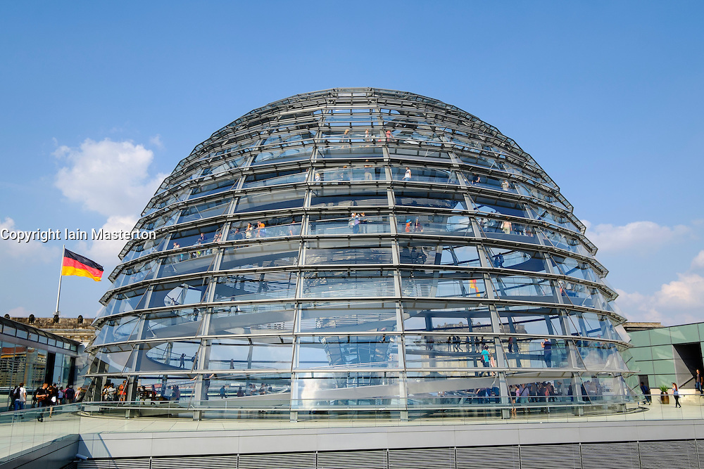 Glass dome roof of Reichstag parliament building in Berlin Germany