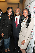 April 17, 2012 Washington, D.C: (L-R) Reality Star/Minister Omarosa O.Manigault, Rev. Al Sharpton, Founder & President, NAN, and Dominique Sharpton, Director, Membership, NAN and Rev. Dr. H. Floyd Flakes, Senior Pastor, Greater Allen A.M.E Catherderal & President Wilberforce University attends Rev. Al Sharpton's  2012 National Action Network Convention held at the Walter E. Washington Convention Center from April 11-14, 2012 in Washington, D.C ...National Action Network (NAN) is one of the leading civil rights organizations in America and is at the forefront of the social justice movement, confronting issues such as police misconduct and abuse, voter rights, education, workers' right, healthcare awareness, anti-violence and more. Founded in New York City in 1991 by Rev. Al Sharpton and a group of activists, NAN is committed to the principles of nonviolent activism and civil disobedience as a direct outgrowth of the movement that was lead by the Rev. Dr. Martin Luther King, Jr. .(Photo by Terrence Jennings).