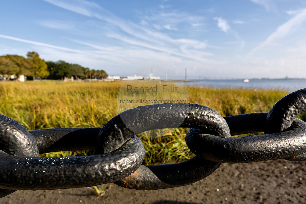 Ships chain marks the mash and end of Waterfront Park in historic Charleston, SC.