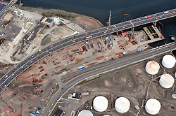"Pearl Harbor Memorial ""Q"" Bridge and Interstate I-95 I-91 CT Route 34 Interchanges. Details of approaches, overpasses, bridges, ramps & roadways within I-95 New Haven Harbor Crossing Corridor construction projects confines. Photography taken at the beginning of Contract B1 & E1"