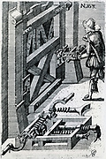 Using expanding screw-driven device to force the lock on a barricaded gate.   Engraving, 1620.