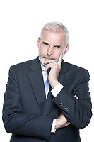 caucasian senior businessman portrait pensive isolated studio on white background