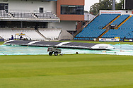 View of the covers as rain falls before the Vitality T20 Blast North Group match between Yorkshire Vikings and Leicestershire Foxes at Emerald Headingley Stadium, Leeds, United Kingdom on 2 September 2020.