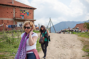 Romina Kajtazova - working as a paralegal for NGO Kham - leaving after visiting a clients home located at the local Roma community during the European Immunization Week in the city of Vinica in Macedonia.