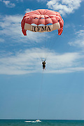 Sunny Beach, Nesebar, Bulgaria..Paragliders at Sunny Beach, the largest holiday resort in the Balkans, and a popular destination for cheap foreign package tours.