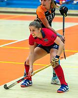 AMSTERDAM -  Klaartje de Bruijn (Laren) met Marle Brenkman (Gro) .  Zaalhockey hoofdklasse, Laren D1-Groningen D1 (2-2). COPYRIGHT KOEN SUYK