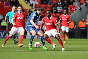 Charlton Athletic striker, Igor Vetokele (14) trying to find a way through during the Sky Bet Championship match between Charlton Athletic and Birmingham City at The Valley, London, England on 2 April 2016. Photo by Matthew Redman.