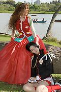 Young Teens dressed up as Utena Tenjou and Anthy Himemiya from the Manga Series Revolutionary Girl Utena by Chiho Saito