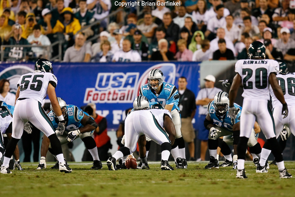 8 August 2008: Carolina Panthers quarterback Jake Delhomme #17 at the line of scrimmage during the game against the Philadelphia Eagles on August 14, 2008. The Eagles beat the Panthers 24 to 13 at Lincoln Financial Field in Phialdelphia, Pennsylvania.