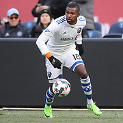 NEW YORK, NEW YORK - March 18: Chris Duvall #18 of Montreal Impact in action during the New York City FC Vs Montreal Impact regular season MLS game at Yankee Stadium on March 18, 2017 in New York City. (Photo by Tim Clayton/Corbis via Getty Images)