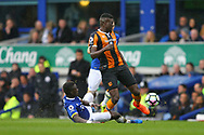 Alfred N'Diaye of Hull City is tackled by Idrissa Gueye of Everton. Premier league match, Everton v Hull city at Goodison Park in Liverpool, Merseyside on Saturday 18th March 2017.<br /> pic by Chris Stading, Andrew Orchard sports photography.