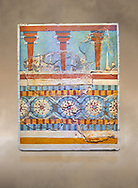 """The Minoan """"Three columned Shrine"""" minture fresco Knossos-Palace, 1700-1450 BC . Heraklion Archaeological Museum.<br /> <br /> The freco depicts a portico with columns on which double axes are fixed, separated by horns of consecration, on a balustrade decorated with rosettes .<br /> <br /> If you prefer to buy from our ALAMY PHOTO LIBRARY  Collection visit : https://www.alamy.com/portfolio/paul-williams-funkystock/minoan-art-artefacts.html . Type -   Heraklion   - into the LOWER SEARCH WITHIN GALLERY box. Refine search by adding background colour, place, museum etc<br /> <br /> Visit our MINOAN ART PHOTO COLLECTIONS for more photos to download  as wall art prints https://funkystock.photoshelter.com/gallery-collection/Ancient-Minoans-Art-Artefacts-Antiquities-Historic-Places-Pictures-Images-of/C0000ricT2SU_M9w"""
