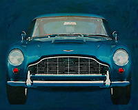 The Aston Martin DB5 is just about the best-known car in the world, thanks to James Bond. This painting of such an Aston Martin shows the front of the car on an even background. If you hang this in an interior you will certainly score with your visitors. -<br />