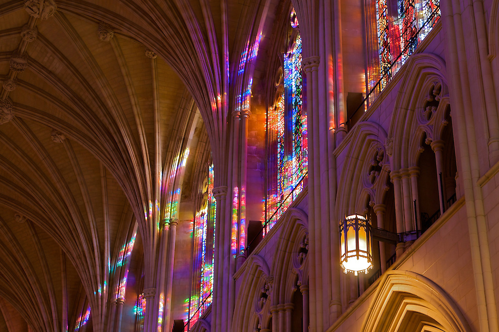 Sunlight and stained glass make for an afternoon light show in Washington National Cathedral, officially named the Cathedral Church of Saint Peter and Saint Paul. A cathedral of the Episcopal Church located in Washington, DC, it is the sixth largest cathedral in the world, and the second largest in the United States.