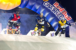 04-02-2012 SKATING: RED BULL CRASHED ICE WORLD CHAMPIONSHIP: VALKENBURG<br /> (L-R) Scott Croxall CAN, Fabian Mels GER, Paavo Klintrup FIN during the final<br /> ©2012-FotoHoogendoorn.nl / Peter Schalk
