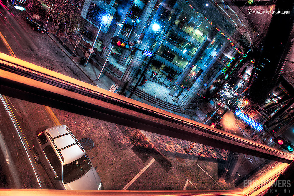 Night photography from inside a skywalk at 12th and Wyandotte, downtown Kansas City Missouri.