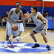 Turkish Basketball team Anadolu Efes's Tarence Kinsey (L) and Sasha Vujacic (R) during their new season training at Anadolu Efes sports hall in Istanbul Turkey on Monday 22 August 2011. Photo by TURKPIX