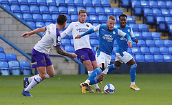 Joe Ward of Peterborough United gets away from Josh Vela of Shrewsbury Town - Mandatory by-line: Joe Dent/JMP - 31/10/2020 - FOOTBALL - Weston Homes Stadium - Peterborough, England - Peterborough United v Shrewsbury Town - Sky Bet League One