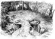 Stone Age tumulus at Roddinge, Denmark containing two chambers. From John Lubbock lst Baron Avebury 'Prehistoric Times'  London 1913. Engraving