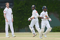 July 7, 2018 - Colombo, Western Province, Sri Lanka - Sri Lanka Borad Xl batsman Kaushal silva (R) and Dhanajaya De Silva (C) taking a single during the day one of a two-day practice match between the Sri Lanka Board XI and South African team at P Sara Oval grounds in Colombo on 7th July, 2018, South Africa will play two Test matches, five ODI's and one T20 match in Sri Lanka. The first Test will play on July 12 at the Galle International Cricket Stadium in Galle. (Credit Image: © Sameera Peiris/Pacific Press via ZUMA Wire)