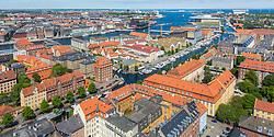 View of Christianshavn from Vor Frelsers Kirke tower, Copenhagen, Denmark. 23/05/14. Photo by Andrew Tallon