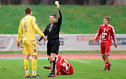 Jovan Vidovic of Domzale and referee Emir Huselja with yellow card at  football match of 20th Round of First League between NK Interblock and NK Domzale, on December 5, 2009,  in ZSD Ljubljana, Ljubljana, Slovenia.  Interblock defeated Domzale 2:1. (Photo by Vid Ponikvar / Sportida)