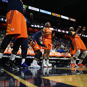 UNCASVILLE, CONNECTICUT- JULY 15:   A contrast of emotions from the Connecticut Sun bench as they lose an over time game to Los Angeles Sparks during the Los Angeles Sparks Vs Connecticut Sun, WNBA regular season game at Mohegan Sun Arena on July 15, 2016 in Uncasville, Connecticut. (Photo by Tim Clayton/Corbis via Getty Images)