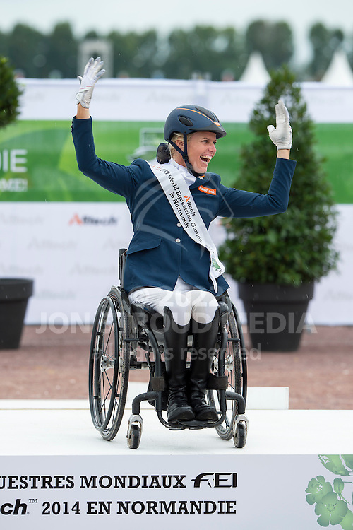 Nicole den Dulk and Wallace third in the Individual Test - Individual Test Grade Ib Para Dressage - Alltech FEI World Equestrian Games™ 2014 - Normandy, France.<br /> © Hippo Foto Team - Jon Stroud <br /> 25/06/14