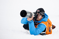 Photographer Urban Meglic of Sportida in action during 1st run of Men's GiantSlalom race of FIS Alpine Ski World Cup 57th Vitranc Cup 2018, on March 3, 2018 in Kranjska Gora, Slovenia. Photo by Ziga Zupan / Sportida