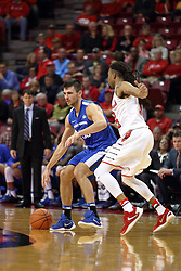 14 November 2016:  John Konchar(55) walks it in against Tony Wills(12) during an NCAA  mens basketball game between the Indiana Purdue Fort Wayne Mastodons the Illinois State Redbirds in Redbird Arena, Normal IL