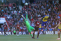 Football - 2018 / 2019 Premier League - AFC Bournemouth vs. Southampton<br /> <br /> Southampton's Manolo Gabbiadini heads a late chance past the out stretched arms of Bournemouth's Asmir Begovic but fails to score at the Vitality Stadium (Dean Court) Bournemouth <br /> <br /> COLORSPORT/SHAUN BOGGUST