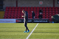 Leicester City's Jamie Vardy on the pitch prior to the match