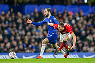 Chelsea forward Gonzalo Higuain (9) and Manchester United Midfielder Nemanja Matic (31) tussle for the ball during the The FA Cup match between Chelsea and Manchester United at Stamford Bridge, London, England on 18 February 2019.