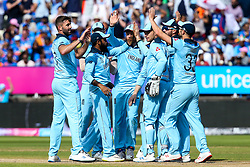Liam Plunkett of England celebrates with teammates after taking the wicket of Virat Kohli of India - Mandatory by-line: Robbie Stephenson/JMP - 30/06/2019 - CRICKET - Edgbaston - Birmingham, England - England v India - ICC Cricket World Cup 2019 - Group Stage