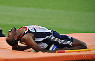 British athlete Martyn Bernard reacts during  the qualification of the High Jump event of European Athletics Championships on 27 July 2010 in Barcelona, Spain.