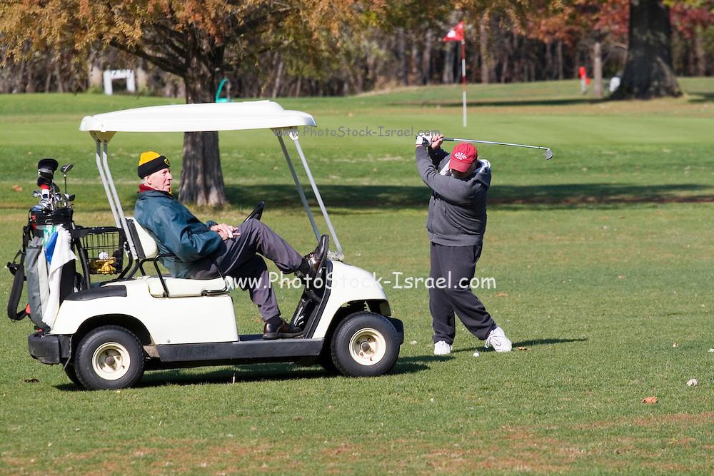 Davenport, Iowa USA, Golfing on Credit Island park. October 2006