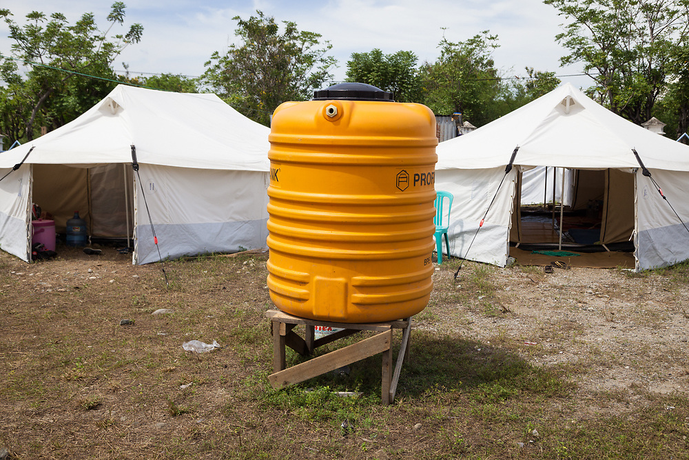 December 1, 2018.  Temporary tent shelters at Gedung Olah Raga (GOR) or Athletic Sports Centre in Palu.  Many displaced residents whose homes were destroyed have found refuge here since a massive 7.5 earthquake struck Palu on Sept. 28, 2018. (ADB Photo, Andri Tambunan)