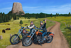 """A Close Encounter""<br /> Painting by Scott Jacobs 2015<br /> <br /> The Largest painting Scott has ever done depicting his two daughters Olivia and Alexa taking a selfie. ""A Close Encounter"" was Scotts official 75th Anniversary Sturgis release."