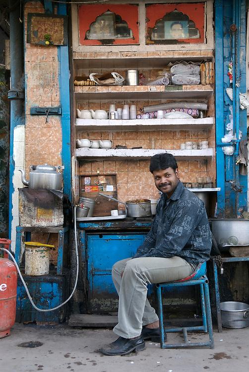 A tea stall in Old Delhi