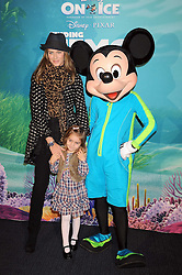"TRINNY WOODALL and her daughter LYLA ELICHAOFF photographed with Mickey Mouse at a VIP Opening night of Disney & Pixar's ""Finding Nemo on Ice"" at The O2 Arena Grennwich London on 23rd October 2008."