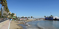 Paseo Maritimo, promenade, esplanade, seafront, beach, bathers, sunbathers, Marbella, Spain, palms, restaurants, bars, 201211130912..Copyright Image from Victor Patterson, 54 Dorchester Park, Belfast, UK, BT9 6RJ..Tel: +44 28 9066 1296.Mob: +44 7802 353836.Voicemail +44 20 8816 7153.Skype: victorpattersonbelfast.Email: victorpatterson@me.com.Email: victorpatterson@ireland.com (back-up)..IMPORTANT: If you wish to use this image or any other of my images please go to www.victorpatterson.com and click on the Terms & Conditions. Then contact me by email or phone with the reference number(s) of the image(s) concerned.