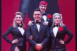 """© Licensed to London News Pictures. 17/06/2015. London, UK. L-R: Georgina Hagen, Ray Quinn, Rachel Stanley and Louise Dearman. UK premiere of """"Judy - The Songbook of Judy Garland"""" - a show celebrating the classic songs of Judy Garland - opens at the New Wimbledon Theatre, London before a UK tour. The show runs from 16 to 20 June 2015. Photo credit : Bettina Strenske/LNP"""