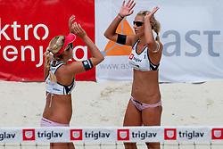 Erika in Simona Fabjan at Zavarovalnica Triglav Beach Volley Open as tournament for Slovenian national championship on July 30, 2011, in Kranj, Slovenia. (Photo by Matic Klansek Velej / Sportida)